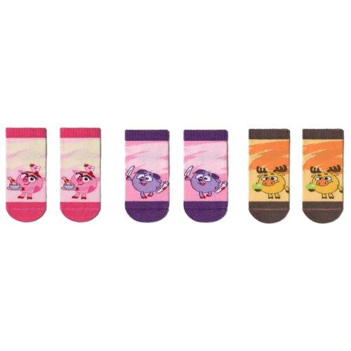 Купить Носки Брестские Смешарики комплект 3 пары размер 15-16, 245 бл.розовый/246 розовый/542 желтый