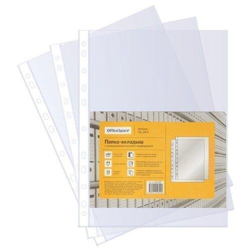 Купить OfficeSpace Папка-вкладыш с перфорацией А4, 30 мкм, глянцевая, 100 шт прозрачный, Файлы и папки