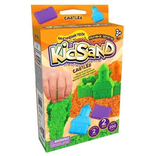 Купить Кинетический песок Danko Toys KidSand Mini Castles (2 цвета, 2 формочки), зеленый/оранжевый, 0.2 кг, картонная пачка