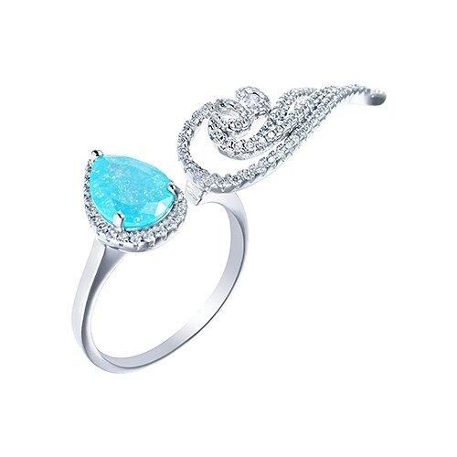 JV Кольцо с стеклом и фианитами из серебра CAR1343-US-002-WG, размер 17 jv кольцо с ювелирным стеклом из серебра b3198 us 011 wg размер 17 5