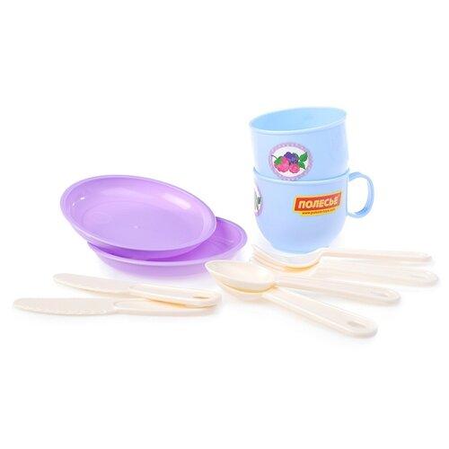 """Набор посуды Полесье """"Минутка"""" на 2 персоны голубой/фиолетовый/бежевый"""