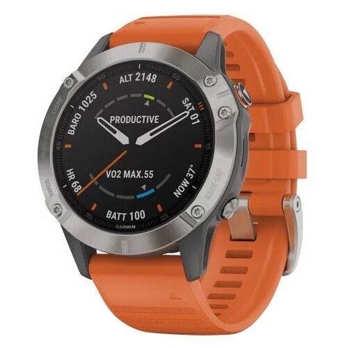 Умные часы Garmin Fenix 6 Sapphire титановый, оранжевый умные часы garmin fenix 6x pro solar титановый с титановым браслетом серый