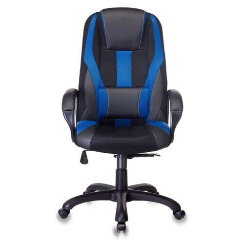 цена Компьютерное кресло Бюрократ VIKING-9 игровое, обивка: текстиль/искусственная кожа, цвет: черный/синий онлайн в 2017 году