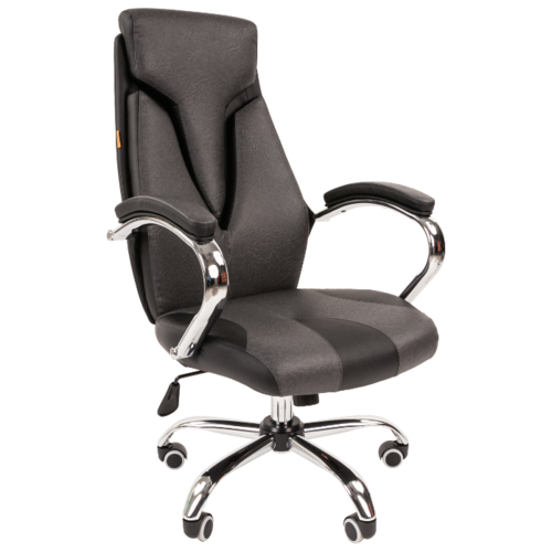 Фото - Компьютерное кресло Chairman 901 для руководителя, обивка: искусственная кожа, цвет: черный / серый компьютерное кресло chairman 668 lt для руководителя обивка искусственная кожа цвет черный бежевый