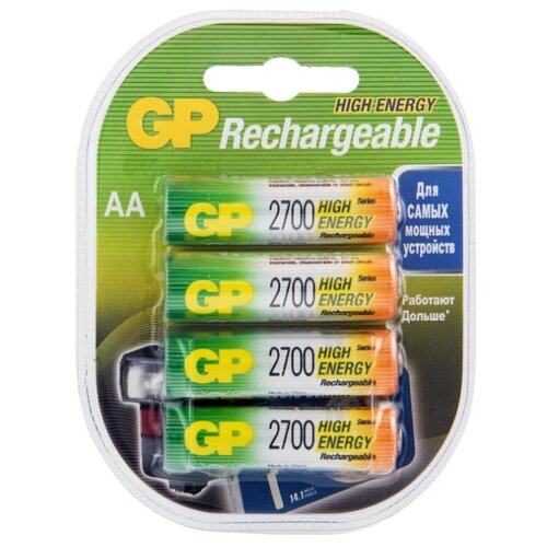 Фото - Аккумулятор Ni-Mh 2700 мА·ч GP Rechargeable 2700 Series AA, 4 шт. аккумулятор ni mh 1000 ма·ч gp rechargeable 1000 series aaa зу 4 шт блистер