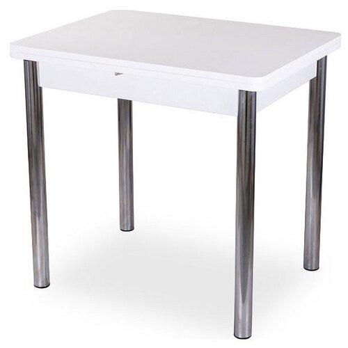 Фото - Стол кухонный Домотека Дрезден М-2 02, раскладной, ДхШ: 60 х 80 см, длина в разложенном виде: 120 см, БЛ белый 02 хром стол домотека танго по бл ст 71 07 вп бл