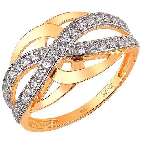Эстет Кольцо с 32 фианитами из красного золота 01К1110749, размер 17.5