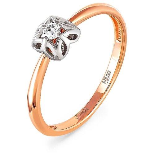 KABAROVSKY Кольцо с 1 бриллиантом из красного золота 11-0792, размер 17 фото