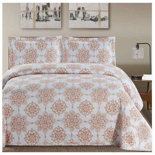 Комплект с покрывалом Arya Evelyn 250 х 260 см + 2 наволочки 50 х 70+5 см, голубой / коричневый