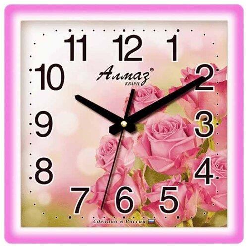 Часы настенные кварцевые Алмаз M15 розовый/белый часы настенные кварцевые алмаз c25 розовый бежевый