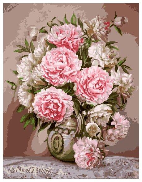 Купить Картины по Номерам на Холсте 40 х 50 см Цветы - Пионы Холст на Подрамнике по низкой цене с доставкой из Яндекс.Маркета (бывший Беру)