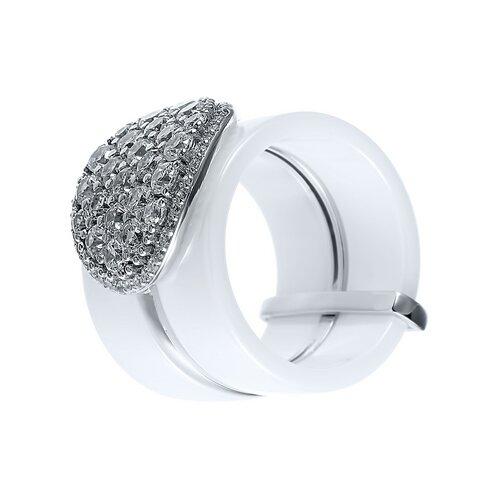 ELEMENT47 Широкое ювелирное кольцо из серебра 925 пробы с керамикой и кубическим цирконием SR1426_KO_002_WG, размер 16.5- преимущества, отзывы, как заказать товар за 6656 руб. Бренд ELEMENT47