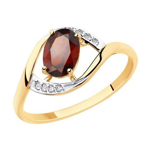 Diamant Кольцо из золота с гранатом и фианитами 51-310-00223-2, размер 17 diamant кольцо из золота с гранатом 51 310 00182 2 размер 17