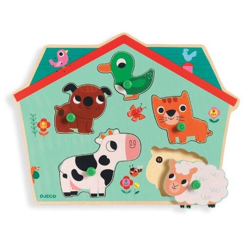 Рамка-вкладыш Djeco Ферма со звуком (01707) деревянные игрушки djeco звуковая рамка вкладыш ферма