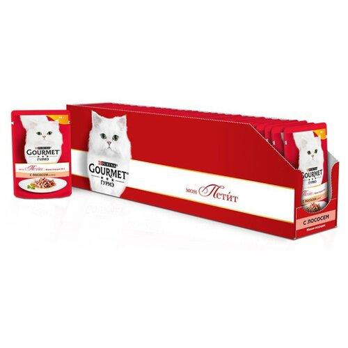 Корм для кошек Gourmet Мон Петит с лососем 30шт. х 50 г (кусочки в соусе)Корма для кошек<br>