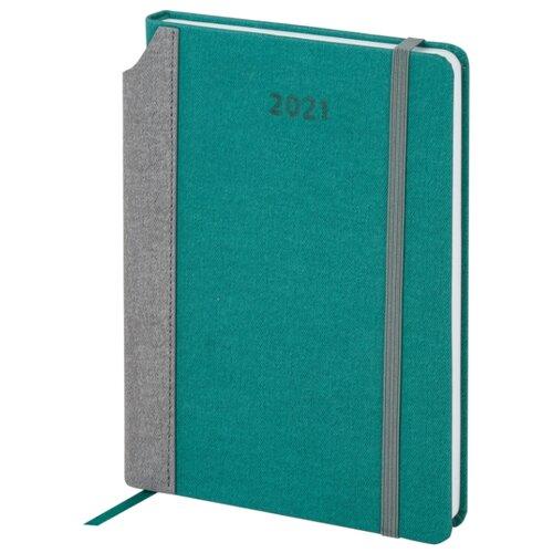Купить Ежедневник BRAUBERG Mosaic датированный на 2021 год, искусственная кожа, А5, 168 листов, бирюза, Ежедневники, записные книжки
