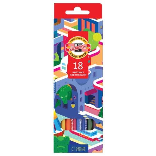 Купить KOH-I-NOOR Карандаши цветные Город мечты, 18 цветов (3553018038KS), Цветные карандаши