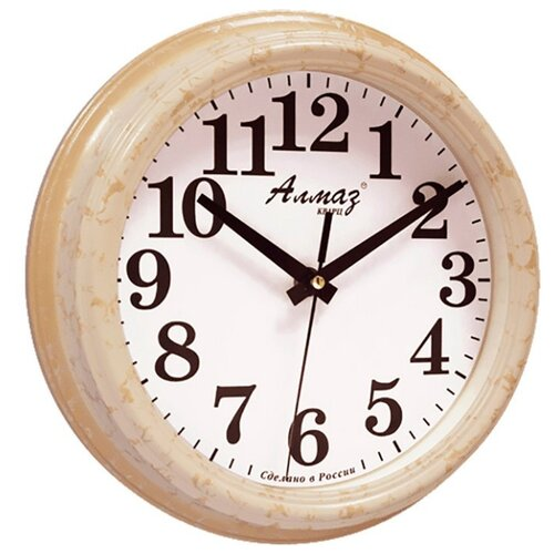 Часы настенные кварцевые Алмаз C66-C68 светло-бежевый/белый часы настенные кварцевые алмаз h32 h35 светло бежевый белый