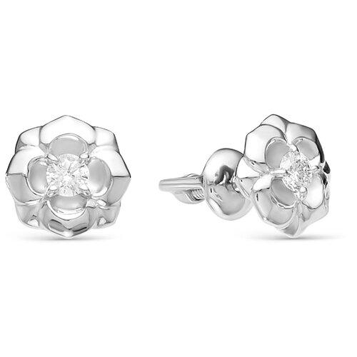 АЛЬКОР Серьги Цветы с 2 бриллиантами из белого золота 22090-200
