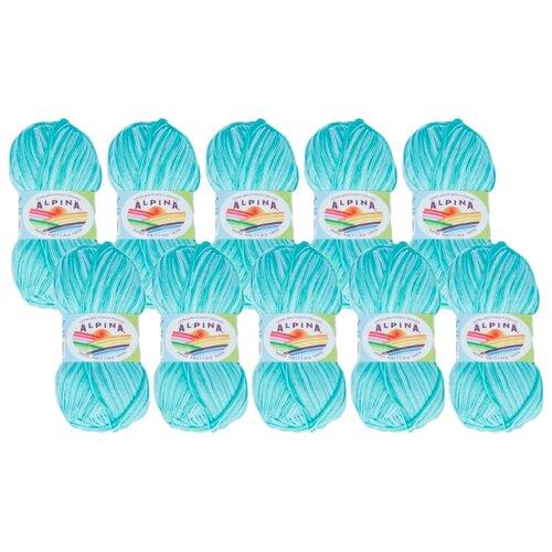 Пряжа Alpina Katrin, 100 % хлопок, 50 г, 140 м, 10 шт., №4019 св.голубой-св.бирюзовый-голубой