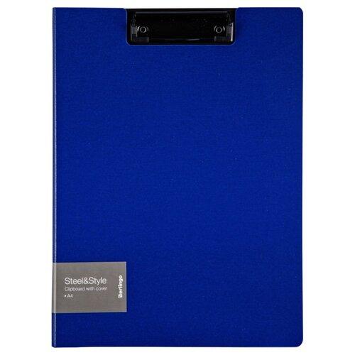 Купить Berlingo Папка-планшет с зажимом с крышкой Steel&Style A4, пластик синий, Файлы и папки