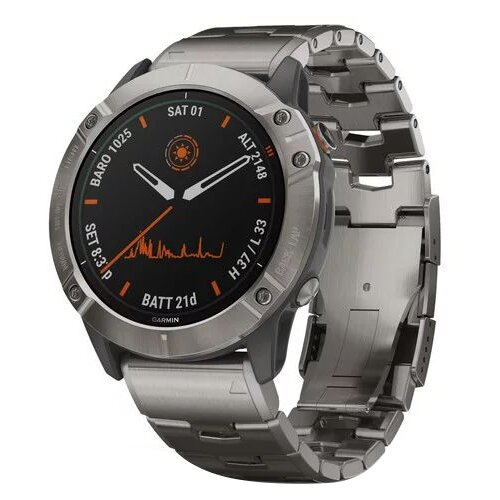 Умные часы Garmin Fenix 6X Pro Solar титановый с титановым браслетом, серый умные часы garmin fenix 6x pro solar титановый с титановым браслетом серый