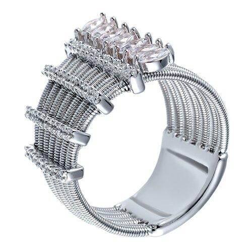ELEMENT47 Широкое ювелирное кольцо из серебра 925 пробы с кубическим цирконием DM2265R_KO_001_WG, размер 17