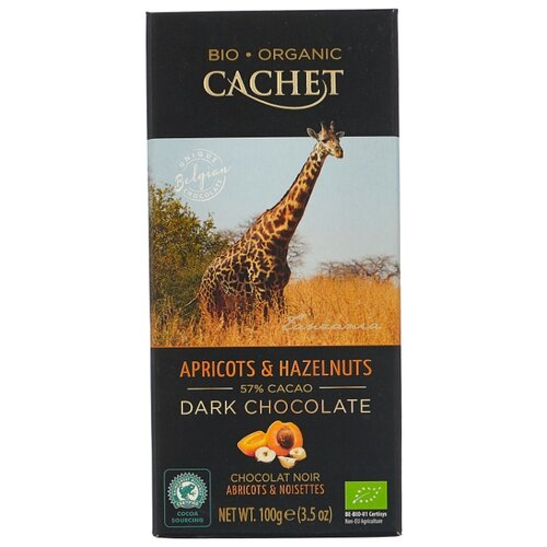 Шоколад Cachet горький с фундуком и абрикосом, 100 г шоколад cachet bio organic элитный бельгийский горький 85% какао танзания 100 г