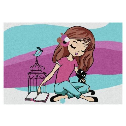 Котеин Картина по номерам Девочка с птичкой 20х30 см (KHM0026)