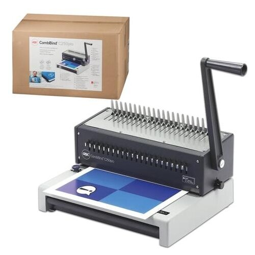 Переплетная машина для пластиковой пружины GBC (Англия) COMBBIND C250Pro, пробивает 20 л., сшивает 450 л., регулировка перфорации, IB271403