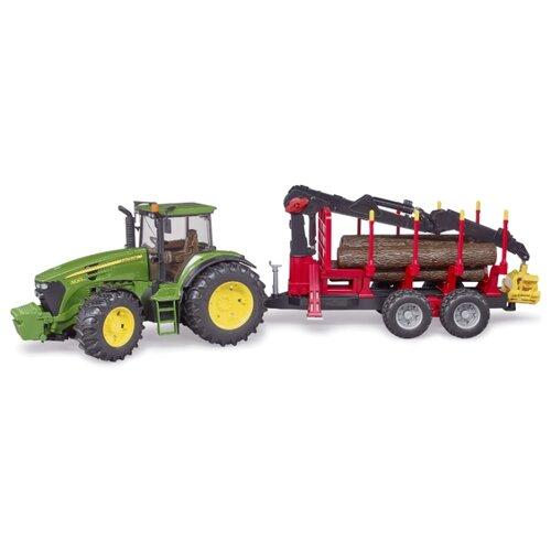 Трактор Bruder John Deere c прицепом с манипулятором (03-054) 1:16 красный/зеленый/желтый bruder трактор john deere 6920 с погрузчиком зеленый