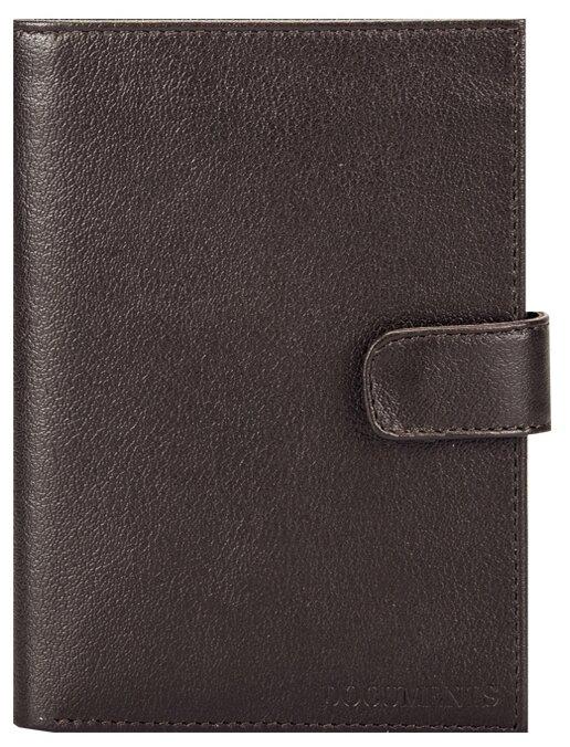 Бумажник водителя FABULA Largo, натуральная кожа, тиснение, 6 пластиковых карманов, кнопка, коричневый, BV.8.LG