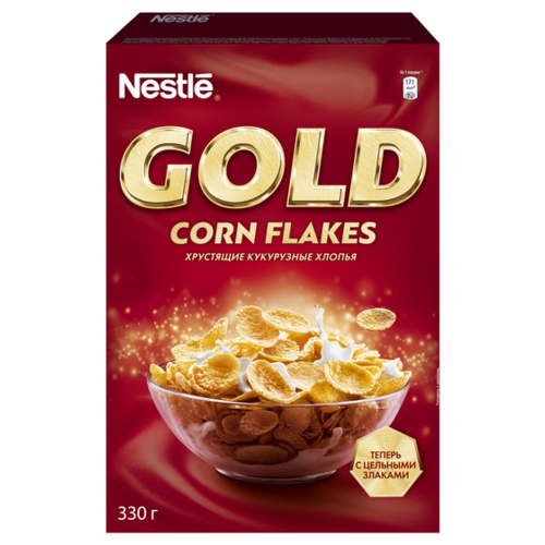 Готовый завтрак Nestle Gold Corn Flakes хлопья, коробка, 330 г nestle fitness хлопья с темным шоколадом готовый завтрак 275 г