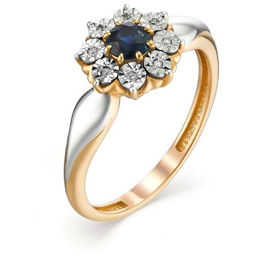 АЛЬКОР Кольцо с сапфиром и бриллиантами из красного золота 13101-102, размер 16