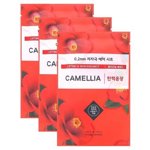 Etude House тканевая маска 0.2 Therapy Air Mask Camellia с маслом камелии, 20 мл, 3 шт. цена 2017