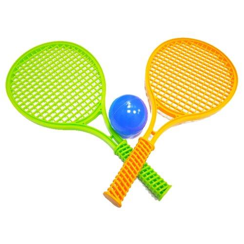 Игровой набор Green Plast Большой теннис (НТ001) зеленый/оранжевый/голубой