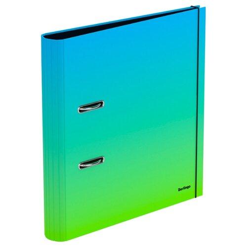 Berlingo Папка-регистратор с арочным механизмом Radiance А4, 50 мм, картон голубой/зеленый папка на 2 х кольцах galaxy а4 салатовая