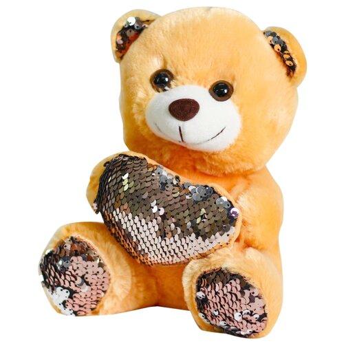 Мягкая игрушка Медведь с сердцем пайетки розовый-серебро 4471229