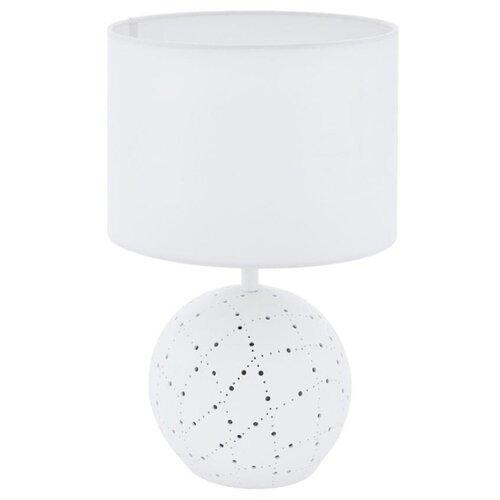 Фото - Настольная лампа MONTALBANO 98381, 1X60W (E27), 1х7W (E14), Ø230, H385, керамика, белый /текстиль, б настольная лампа eglo montalbano 98381 60 вт