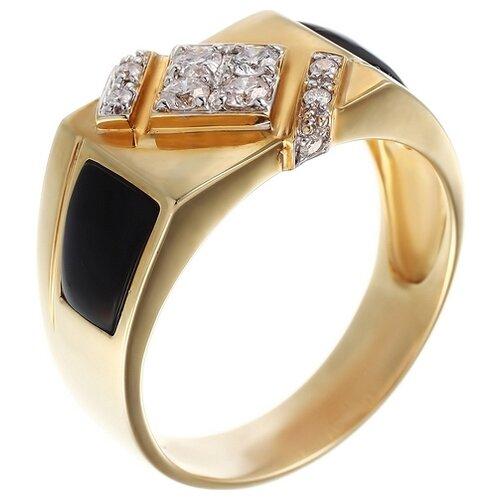 цена на JV Печатка с бриллиантами, ониксами из желтого золота KM5012R-BO-10-OX-YG, размер 19.5