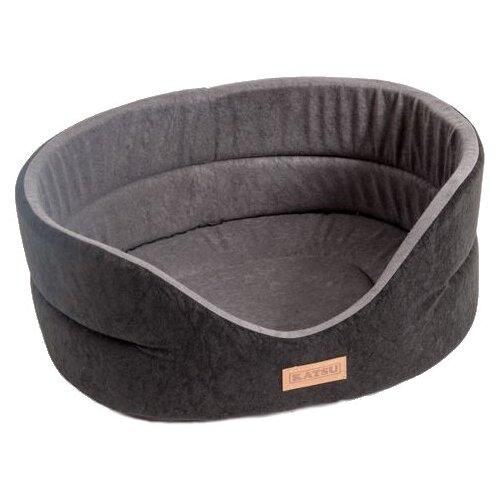 Лежак для собак Katsu Suedine S 46х42х18 см черный/серый