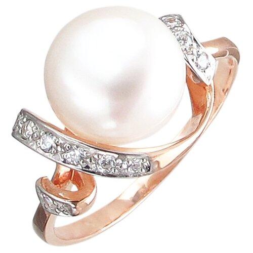 Эстет Кольцо с жемчугом и фианитами из серебра с позолотой С15К351025П, размер 19.5 ЭСТЕТ