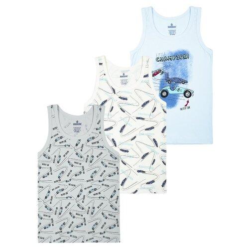 Купить Майка BAYKAR 3 шт., размер 158/164, белый/серый/голубой, Белье и пляжная мода