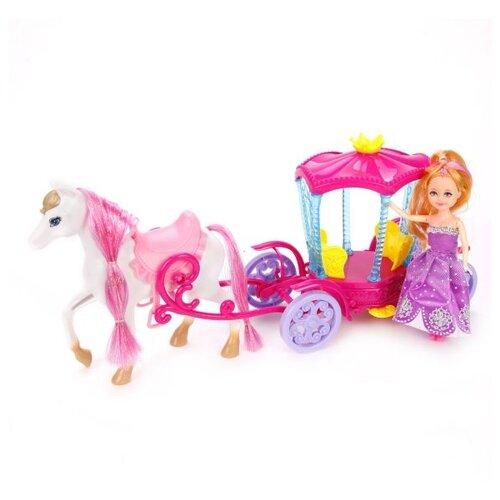 Кукла Shantou Gepai с каретой и лошадью, 15 см, 100835934 кукла shantou gepai с коляской cs5832ha