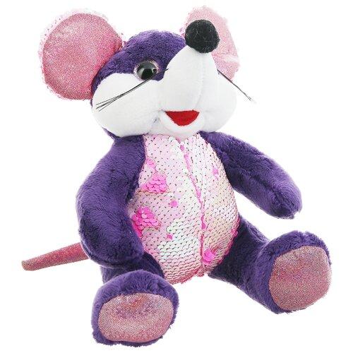 Купить Мягкая игрушка ABtoys Мышка с пайетками фиолетовая 20 см, Мягкие игрушки