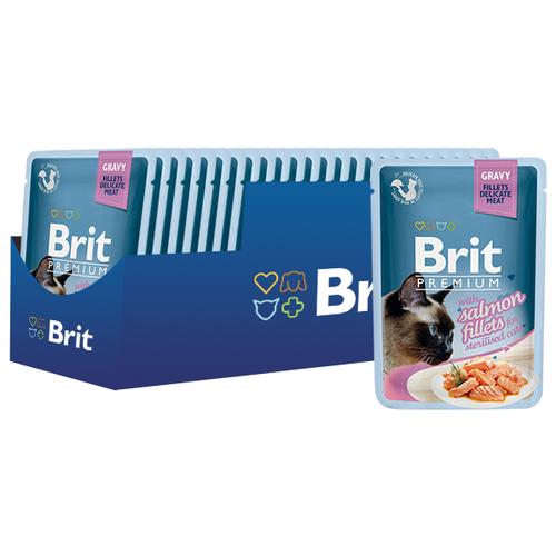 Корм для стерилизованных кошек Brit Premium с лососем 24шт. х 85 г (кусочки в соусе) корм для стерилизованных кошек мнямс с ягненком 100 г кусочки в соусе