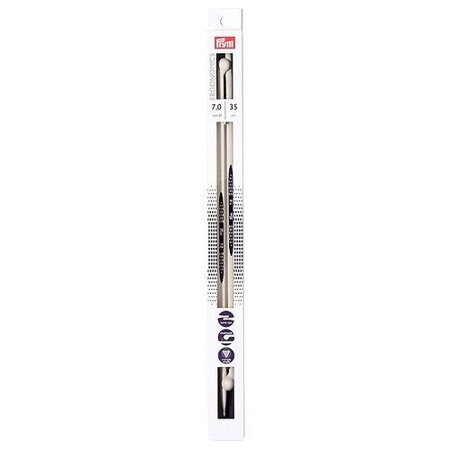 Спицы Prym полимерные Ergonomics, диаметр 7 мм, длина 35 см, алебастровый белый