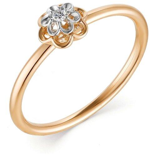 АЛЬКОР Кольцо с 1 бриллиантом из красного золота 13244-100, размер 17 фото