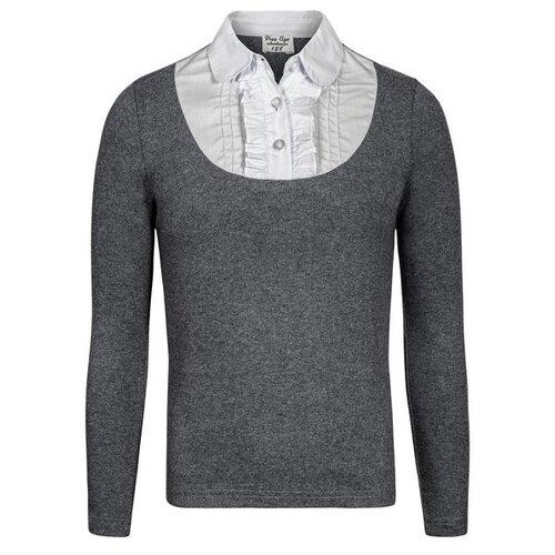 Блузка Free Age размер 146, темно-серый меланж/белый свитшот для мальчика free age цвет черный zb 09207 b 2 размер 146 10 лет