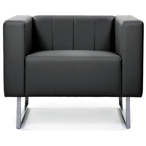 Классическое кресло Chairman Вента размер: 85х75 см, обивка: искусственная кожа, цвет: черный экотекс 3001